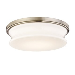 Fifth and Main Drift 13-inch LED Satin Nickel Flush Mount, White Opal Glass