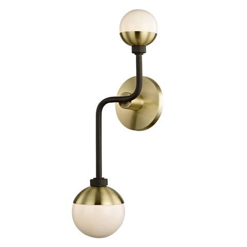 Fifth and Main Hipster 2-light Bronze Brass Wall Sconce, Opal Glass