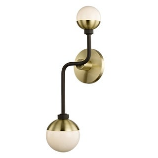 Fifth and Main Hipster 2-light Bronze Brass Wall Sconce, Opal Glass