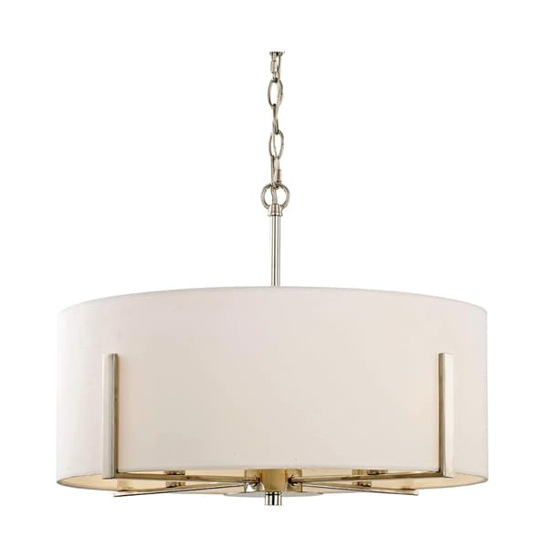 Fifth and Main Manhattan 4-light Polished Nickel Pendant, White Fabric