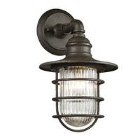 Fifth and Main Freeport 1-light Centennial Rust Outdoor Wall Sconce, Clear Ribbed Glass