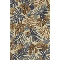 Indoor/ Outdoor Hand-hooked Grey/ Taupe Tropical Palm Leaf Rug by Alexander Home - 5' x 7'6
