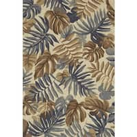 Indoor/ Outdoor Hand-hooked Grey/ Taupe Tropical Palm Leaf Rug by Alexander Home - 7'6 x 9'6