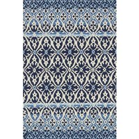 Indoor/ Outdoor Hand-hooked Blue Damask Rug (5' x 7'6) by Alexander Home
