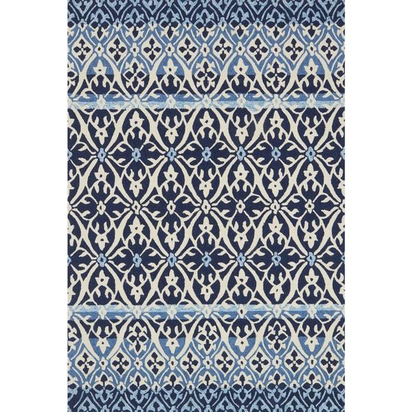 Indoor/ Outdoor Hand-hooked Blue Damask Rug (7'6 x 9'6) by Alexander Home