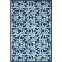 Alexander Home Hand-hooked Blue Geometric Mosaic Rug (7'6 x 9'6)