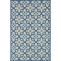 Indoor/ Outdoor Hand-hooked Blue Floral Mosaic Rug (2'3 x 3'9) by Alexander Home