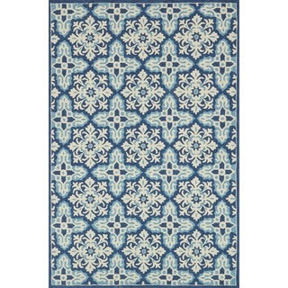 """Indoor/ Outdoor Hand-hooked Blue Floral Mosaic Rug (3'6 x 5'6) by Alexander Home - 3'6"""" x 5'6"""""""