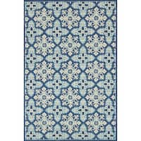 Indoor/ Outdoor Hand-hooked Blue Floral Mosaic Rug (3'6 x 5'6) by Alexander Home