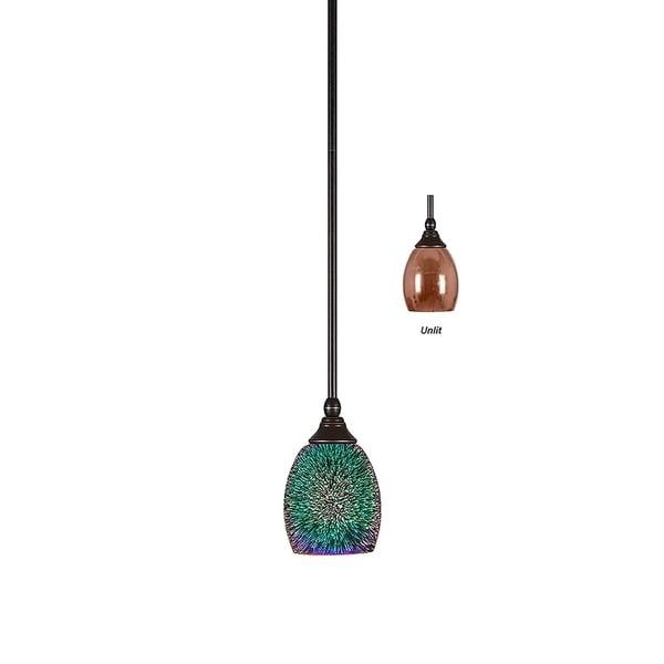 """Mini Pendant with Hang Straight Swivel Dark Granite Finish With 5"""" Copper Fire Glass"""