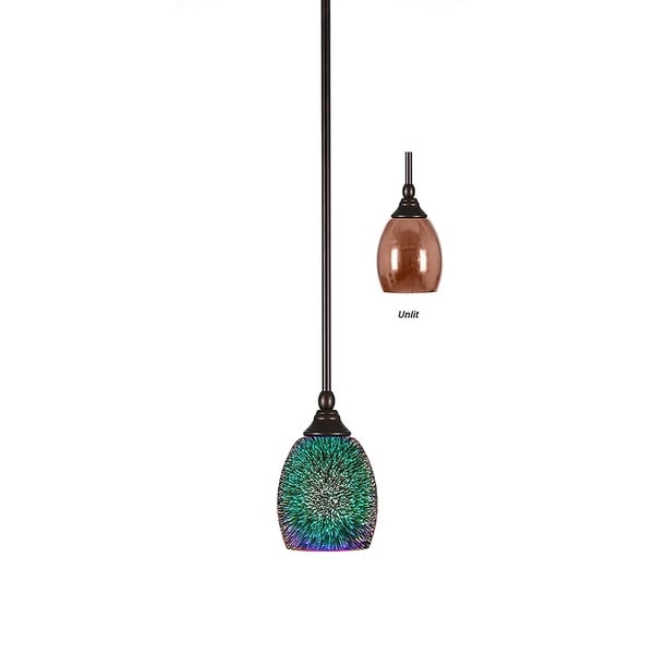 "Mini Pendant with Hang Straight Swivel Bronze Finish With 5"" Copper Fire Glass"