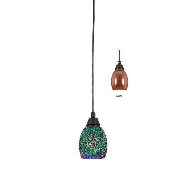 Dark Granite Finish 5-inch Copper Fire Glass Shade Mini Pendant