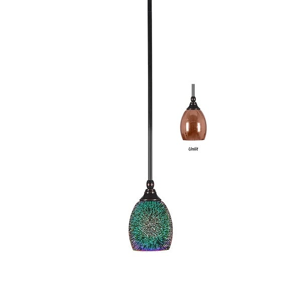 "Mini Pendant with Hang Straight Swivel Black Copper Finish With 5"" Copper Fire Glass"