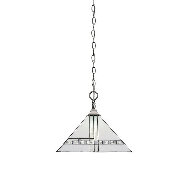 """Chain Hung Pendant with Square Fitter Brushed Nickel Finish With 14"""" New Deco Tiffany Glass"""