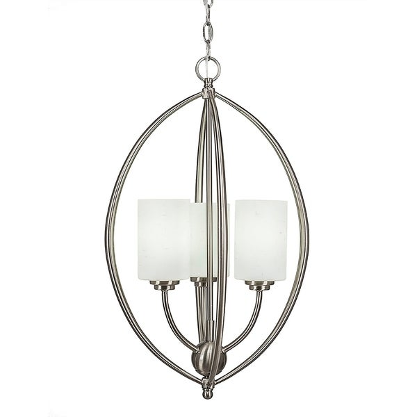"3-Light Pendant Brushed Nickel Finish With 4"" White Muslin Glass"
