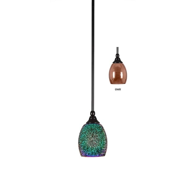 Hang Straight Swivel Espresso Finish with 5-inch Copper Fire Glass Shade Mini Pendant
