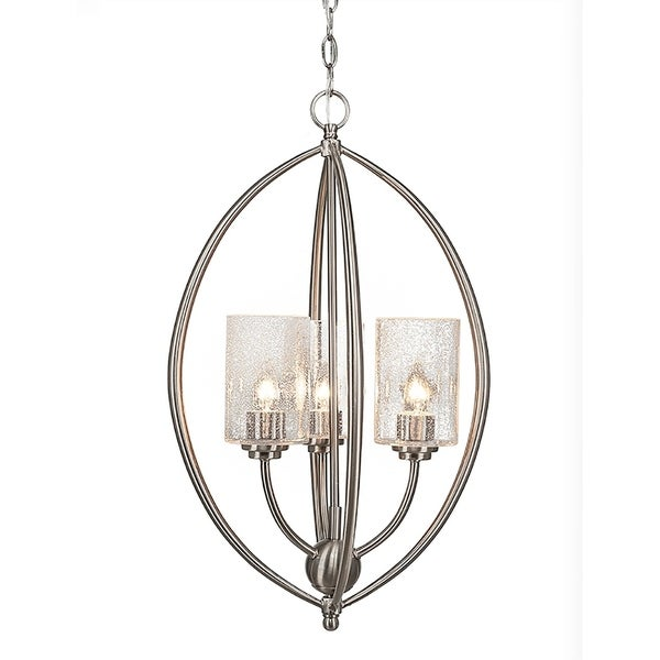 Brushed Nickel Finish 3-Light Pendant with 4-inch Clear Bubble Glass
