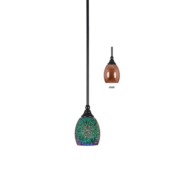 Matte Black Metal Mini Pendant Fixture with Hang Straight Swivel and Copper Fire Glass 5-inch Shade