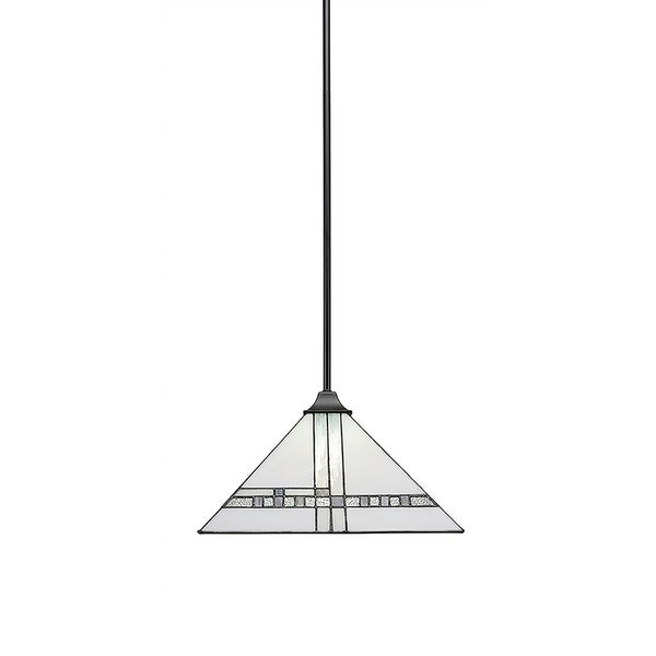 Brushed Nickel Finish Metal New Deco Tiffany Glass 14-inch Stem Hung Pendant with Square Fitter