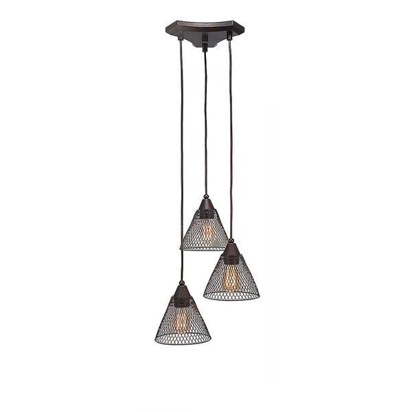 Dark Granite Metal 3-light Mini Pendant with Dark Granite Metal Mesh 7-inch Shades