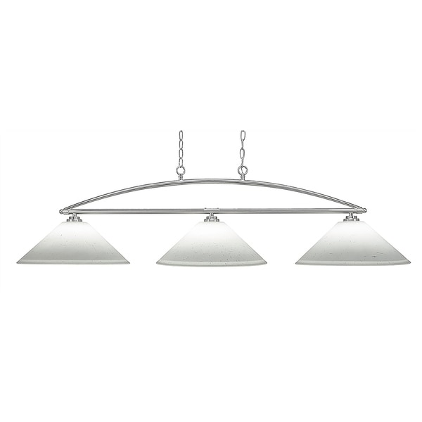 """3-Light Island Light in Brushed Nickel Finish With 16"""" White Muslin Glass"""
