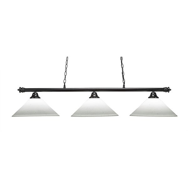 Matte Black/White Metal/Muslin Glass 16-inch Shade 3-light Island Light