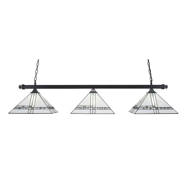 """3-Light Island Light with Square Fitters Matte Black Finish With 14"""" New Deco Tiffany Glass"""