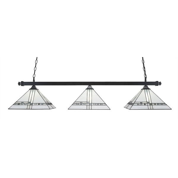 New Deco Tiffany Glass 3-Light Matte Black Finish Island Light with Square Fitters