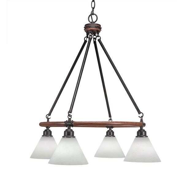 """4-Light Chandelier With 7"""" White Muslin Glass"""