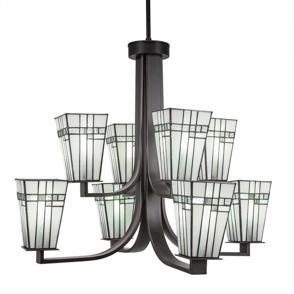 "8-Light Chandelier with Hang Straight Swivel Dark Granite Finish With 5"" Square New Deco Tiffany Glass"