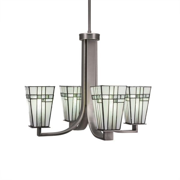 """4-Light Chandelier with Hang Straight Swivel Graphite Finish With 5"""" Square New Deco Tiffany Glass"""
