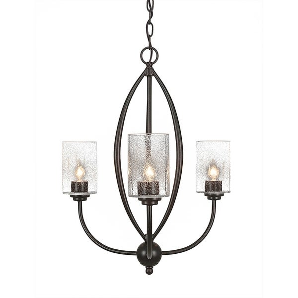 """3-Light Chandelier Dark Granite Finish With 4"""" Clear Bubble Glass"""