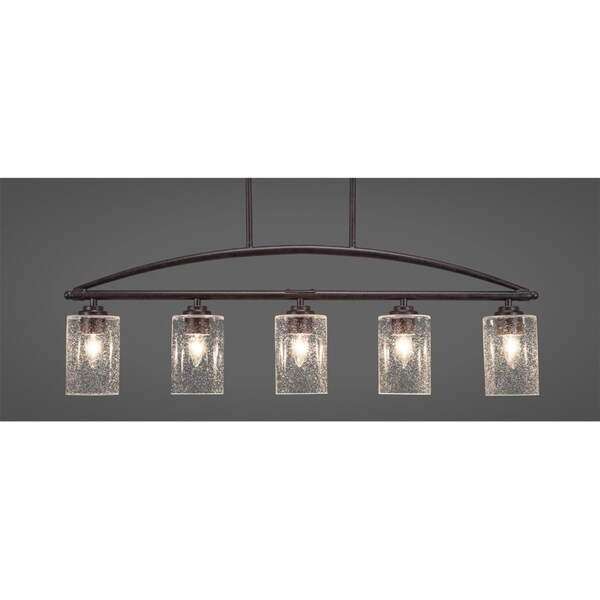 Dark Granite Metal 5-light Island Fixture With 4-inch Clear Bubble Glass Shades