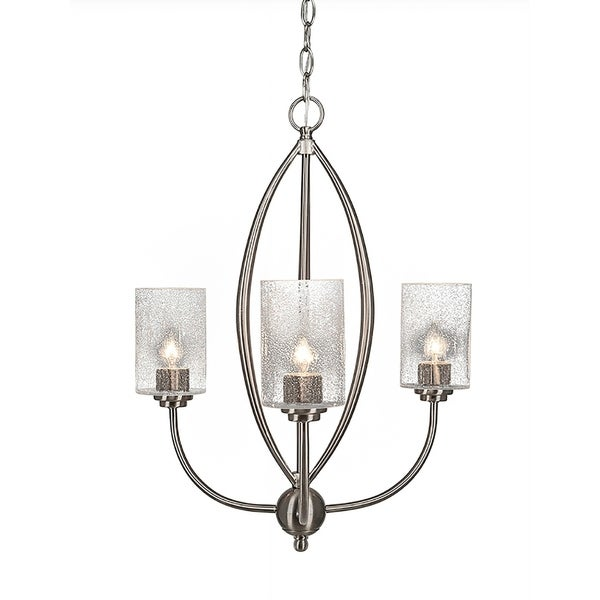 "3-Light Chandelier Brushed Nickel Finish With 4"" Clear Bubble Glass"