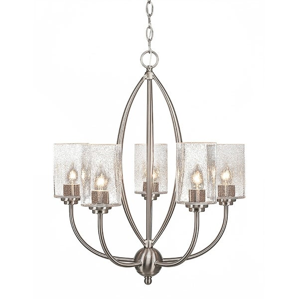 """5-Light Chandelier Brushed Nickel Finish With 4"""" Clear Bubble Glass"""