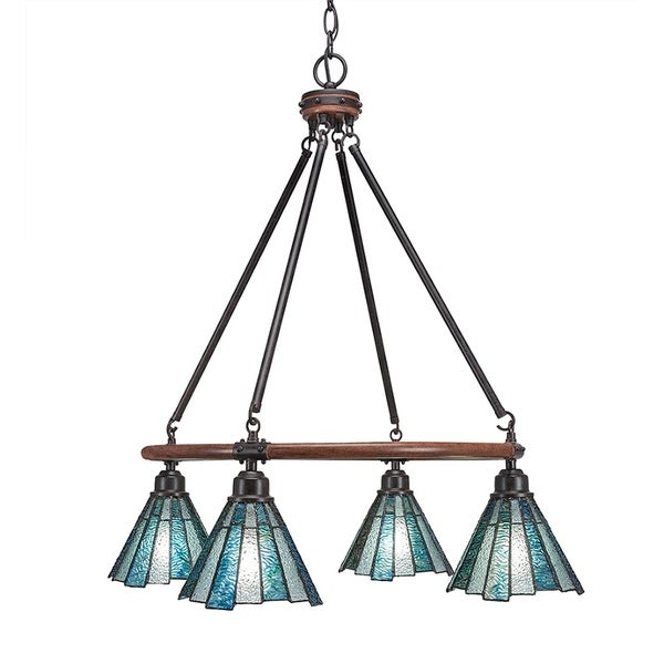 Metal 4-light Chandelier with 7-inch Sea Ice Tiffany Glass Shades