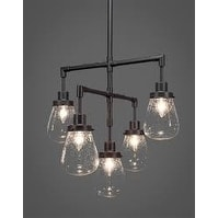 """5-Light Chandelier Dark Granite Finish With 5"""" Clear Bubble Glass"""