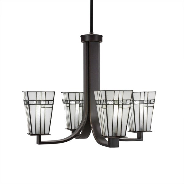 "4-Light Chandelier with Hang Straight Swivel Dark Granite Finish With 5"" Square New Deco Tiffany Glass"