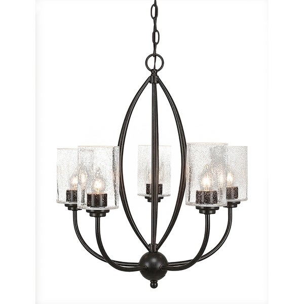 Transitional Dark Granite Finish Metal with 4-inch Clear Bubble Glass Shades 5-light Chandelier