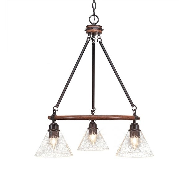 """3-Light Chandelier With 7"""" Clear Bubble Glass"""
