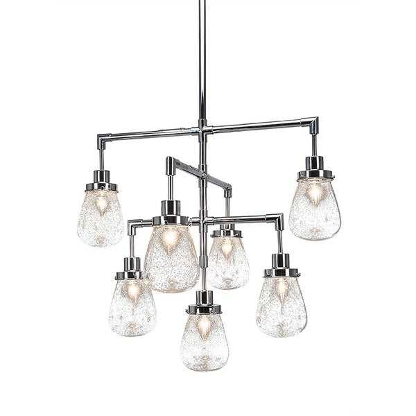 """7-Light Chandelier Chrome Finish With 5"""" Clear Bubble Glass"""