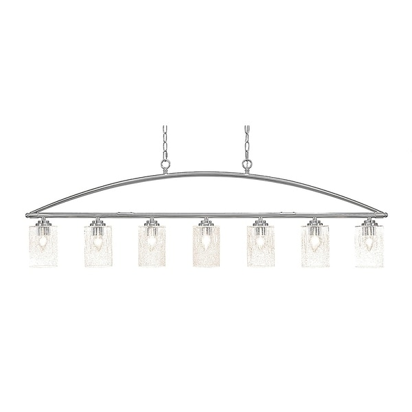 Brushed Nickel Metal 7-light Island Light with Clear Bubble Glass 4-inch Shades