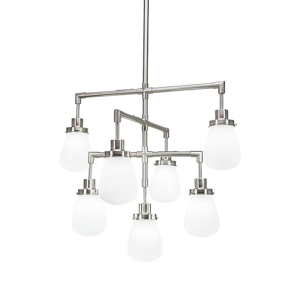 """7-Light Chandelier Brushed Nickel Finish With 5"""" White Glass"""