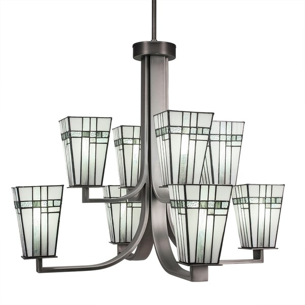 Hang Straight Swivel Graphite Finish Metal 8-light Chandelier With 5-inch Square New Deco Tiffany Glass Shades