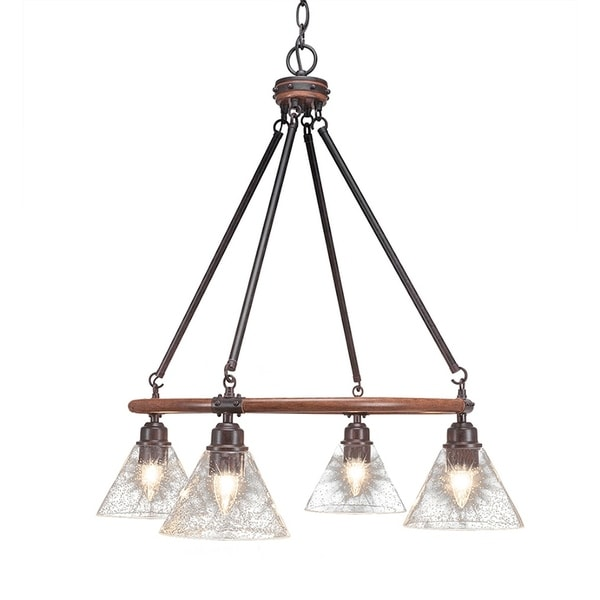 Black/Brown Metal 4-light Chandelier With 7-inch Clear Bubble Glass Shades