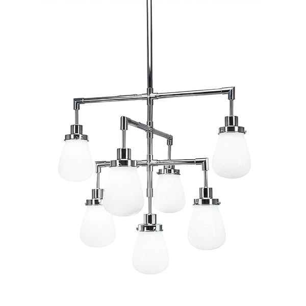 """7-Light Chandelier Chrome Finish With 5"""" White Glass"""