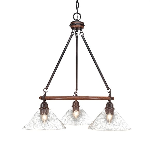 3-light Chandelier with Clear Bubble Glass 10-inch Shades