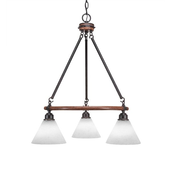 Transitional Metal with 7-inch White Muslin Glass Shades 3-light Chandelier