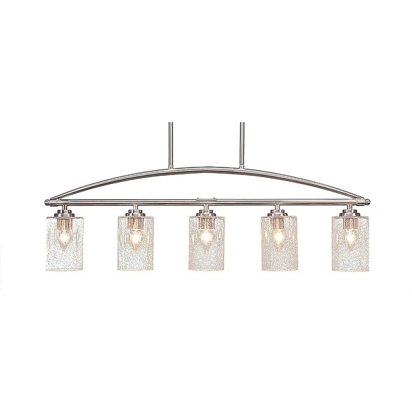"""5-Light Island Light in Brushed Nickel Finish With 4"""" Clear Bubble Glass"""