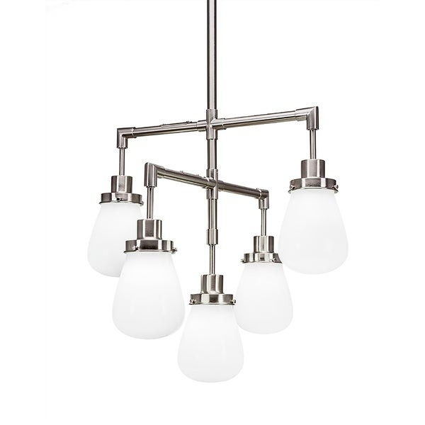 "5-Light Chandelier Brushed Nickel Finish With 5"" White Glass"